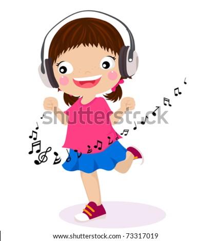 Dancing girl listen music in headphones - stock vector