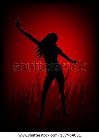 dancing girl on a red background - stock vector