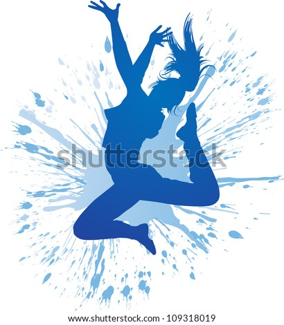 Dancing girl with blue spots and splashes on white background. Vector illustration. - stock vector