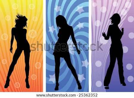 Dancing girls - stock vector