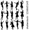 dancing girls silhouette, vector - stock vector
