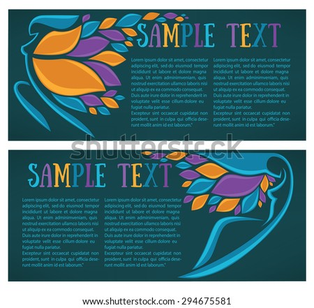 dancing girls with hair look like a leaves, vector banners - stock vector