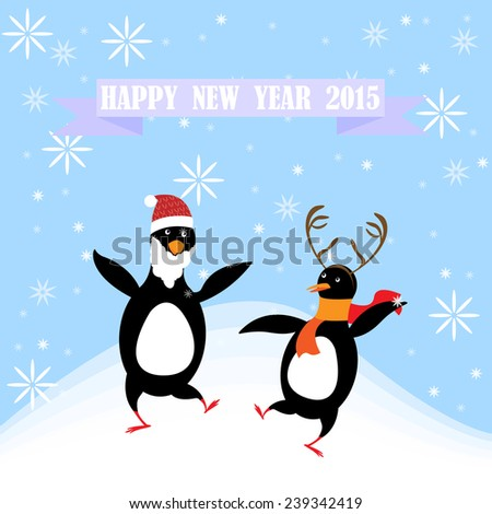 Dancing in New Year Greeting Card - vector illustration - stock vector
