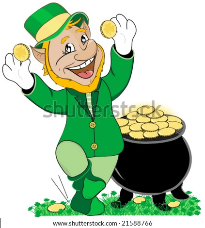 Dancing leprechaun with pot of gold. Vector.