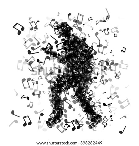 Dancing man made of different music notes