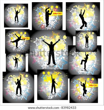 Dancing man. Set posters - stock vector