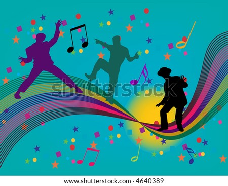Dancing on a rainbow are three silhouettes in this vector illustration. - stock vector