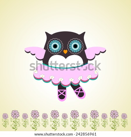 Dancing owl whimsical  - stock vector