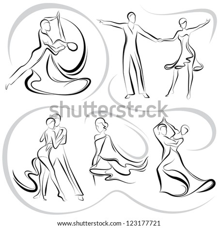 Dancing pair - stock vector