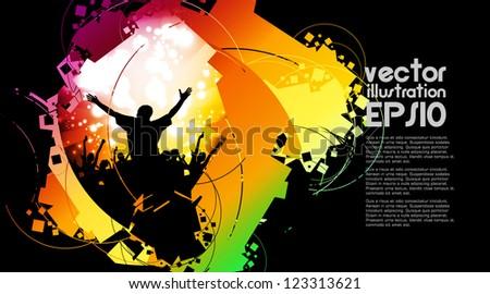 Dancing people - stock vector