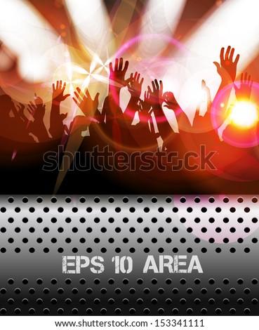 Dancing people. Concert crowd. Vector - stock vector