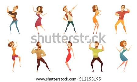 Dancing people funny cartoon style icons collection with men and women in free movement poses isolated vector illustration