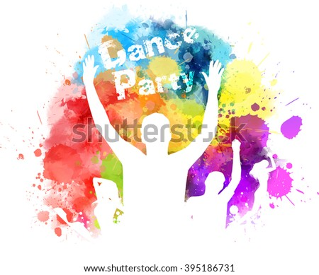Dancing people on watercolor imitation multicolored background - stock vector