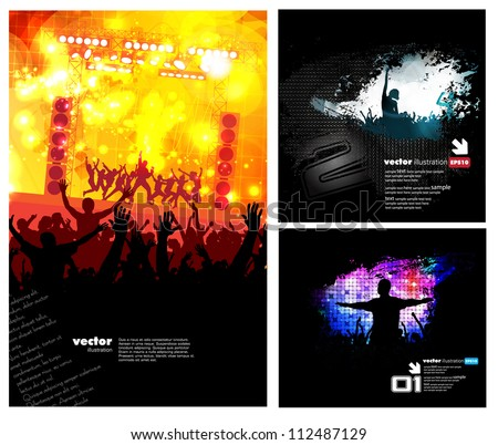 Dancing people. Set of music illustration - stock vector