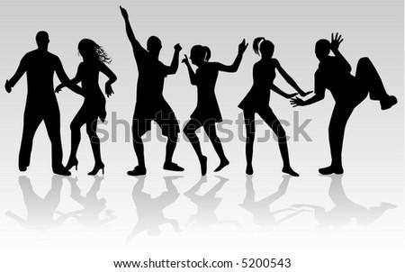 Dancing people , silhouette, vectors work - stock vector