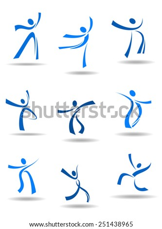 Dancing people stylized icons in freestyle flowing form depicting motion and poses in blue with shadows below for logo or symbol design