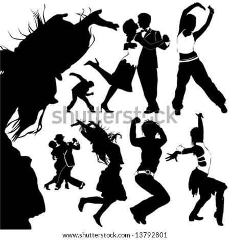 dancing people vector - stock vector