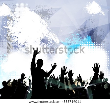Dancing people, vector party illustration