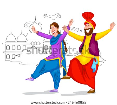 Punjabi culture stock images royalty free images vectors dancing punjabi couple of india in vector malvernweather Choice Image