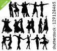 Dancing silhouettes vector - stock vector