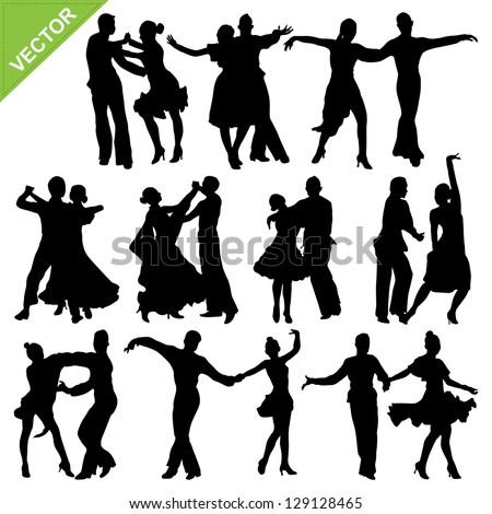 Dancing silhouettes vector - stock vector