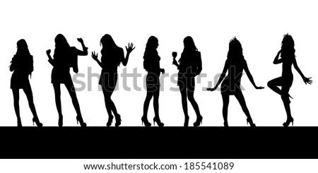 Dancing silhouettes, vector - stock vector
