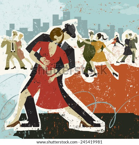 Dancing the Tango Five couples dancing the tango over an abstract background. - stock vector
