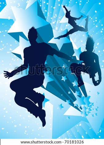 Dancing with stars (also available jpg version) - stock vector