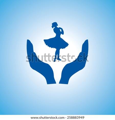 dancing woman icon, vector illustration. Flat design style - stock vector