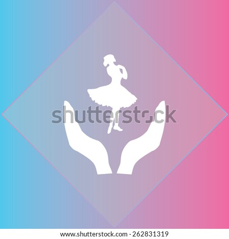 dancing woman icon, vector illustration. Flat design style - stock vector
