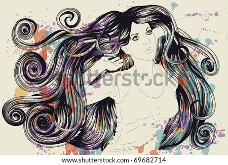 Dancing woman with detailed hair and splatter paint - stock vector