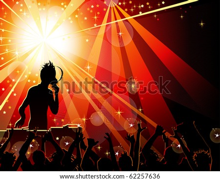 Dancing young people in the nightclub - stock vector