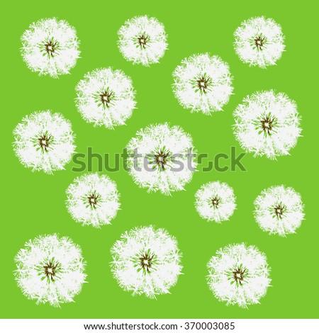 Dandelion back pattern green - stock vector
