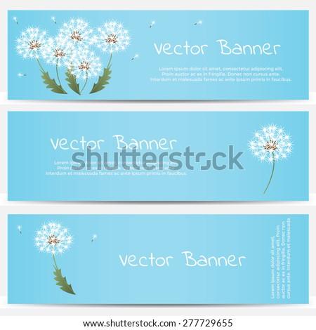 Dandelion banner on blue background. Vector illustration - stock vector