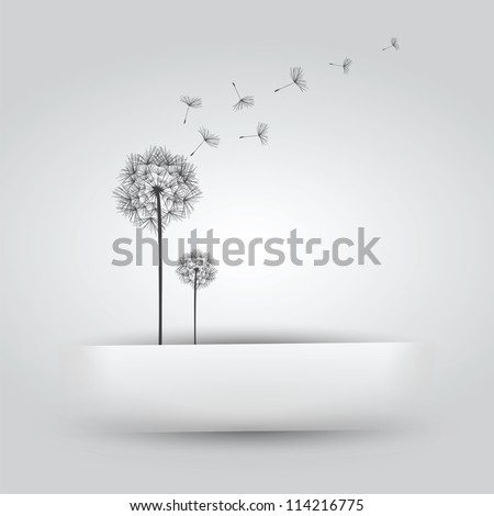 Dandelion in Paper Slit - stock vector