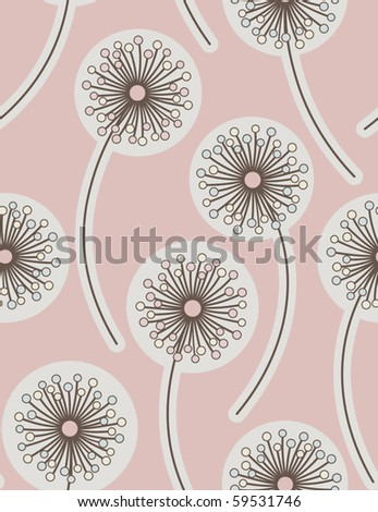 Dandelion. Seamless floral background. Vector illustration. - stock vector