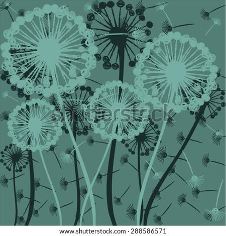 dandelion, vector, illustration, art, background, design, painting, botany - stock vector