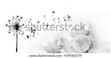 Dandelion with butterflies thyme - stock vector