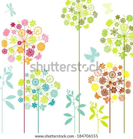 Dandelions and butterflies - stock vector