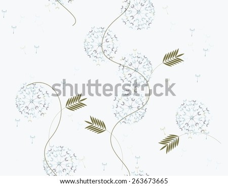 Dandelions in soft colors on the wind canvas. - stock vector