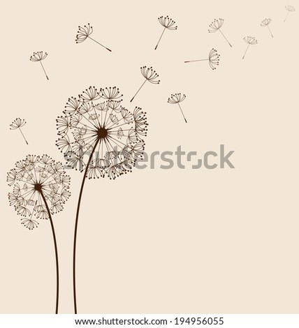 Dandelions on cream background vector - stock vector