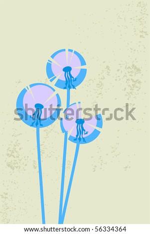dandelions on grange background - stock vector