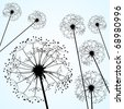 dandelions pale blue - stock vector