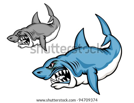 Danger blue shark in cartoon style isolated on white background, such a logo. Jpeg version also available in gallery - stock vector