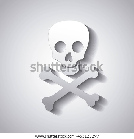 danger caution skull isolated icon design, vector illustration graphic isolated - stock vector