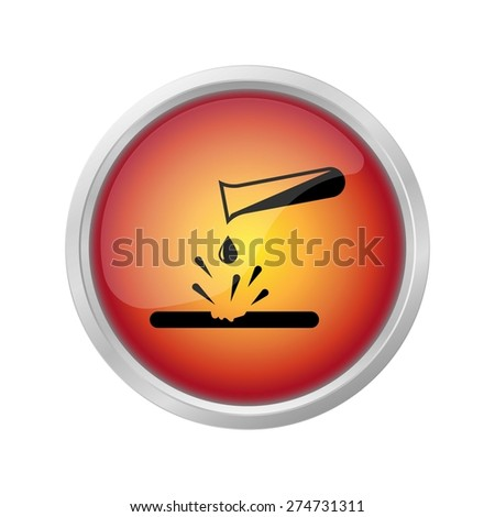 danger corrosive materials symbol on red button - stock vector
