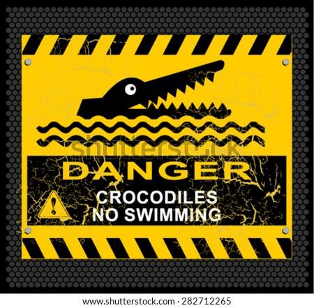 danger, crocodiles, no swimming - stock vector