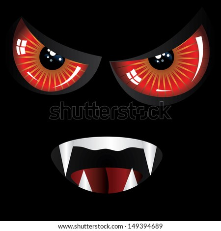 Danger evil face with red eyes and fangs on black background. - stock vector