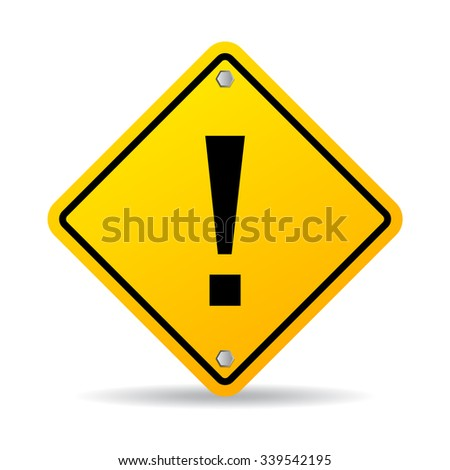 Danger exclamation sign illustration isolated on white background - stock vector