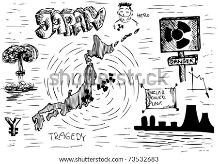 danger from japan  (nuclear problem) - stock vector
